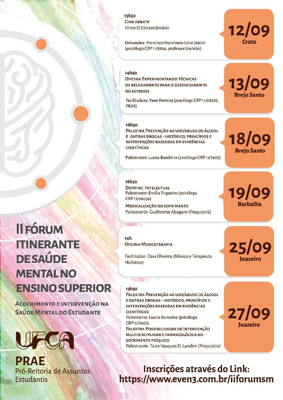 Fórum Itinerante de saúde mental no ensino superior